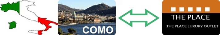 Private transfer from Como to The Place Luxury Outlet and conversely